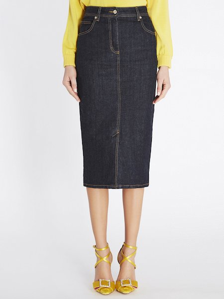 Sheath skirt in denim