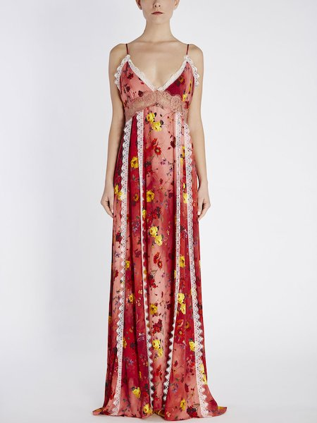Long floral-print dress with lace - red
