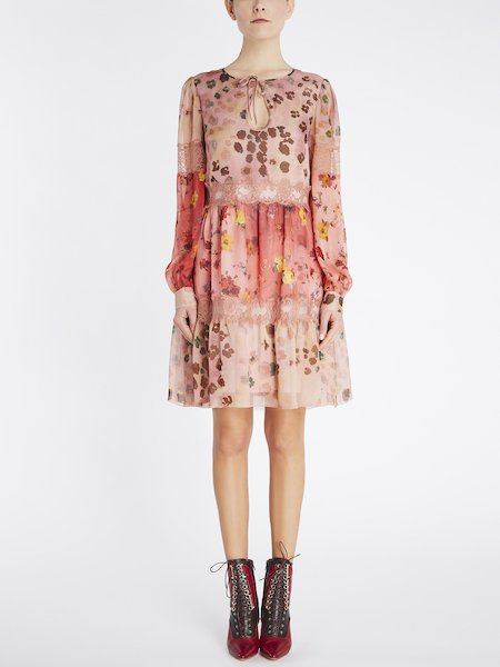 Flounced dress with print and lace