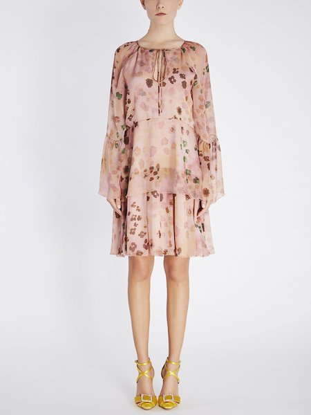 Dress in animalier-print silk with ruffles - pink