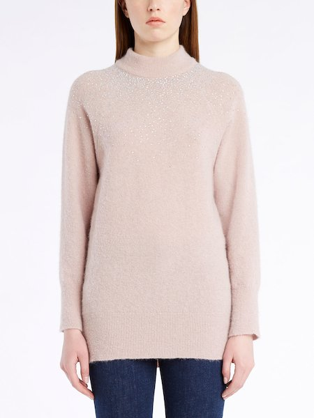 Long-sleeved sweater with rhinestones - Rosa