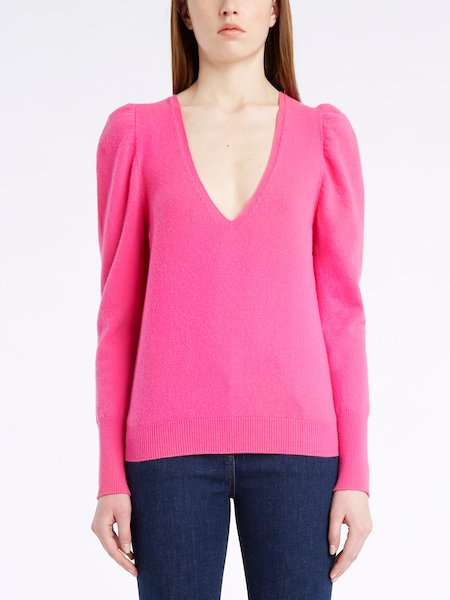 V-neck sweater in wool-cashmere - fuchsia