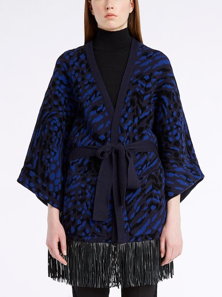 Kimono in animalier knit with leather fringe - blue