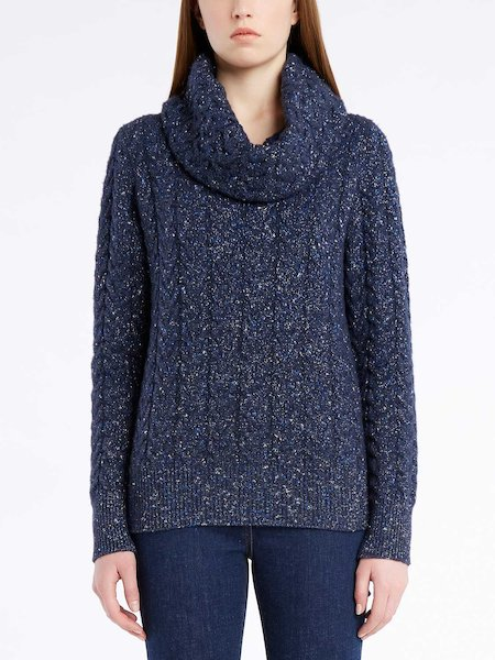 Long-sleeved cable-knit sweater with Lurex - blue
