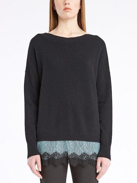Long-sleeved sweater with lace flounces - Schwarz