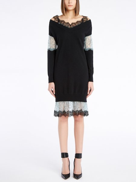 Long-sleeved knit dress with lace insets - Black