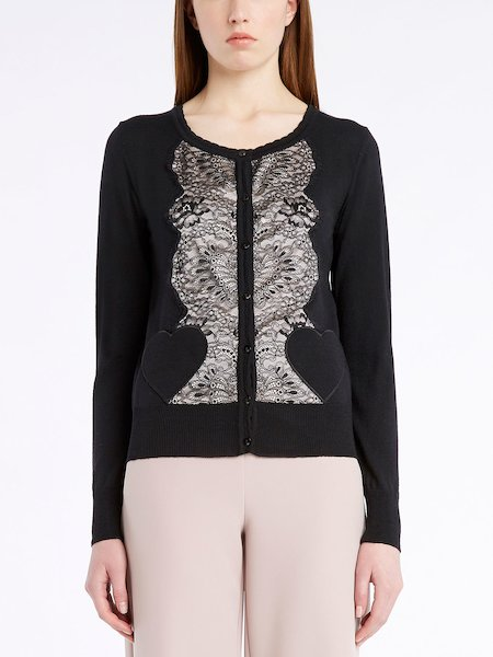 Long-sleeved cardigan with lace insets - Schwarz