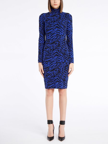 Knit dress featuring an animalier print - blue