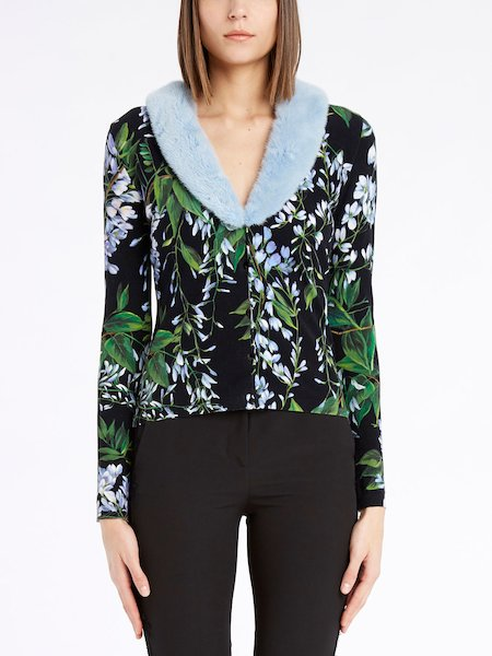 BluVi floral-print cardigan boasting a mink collar - Noir