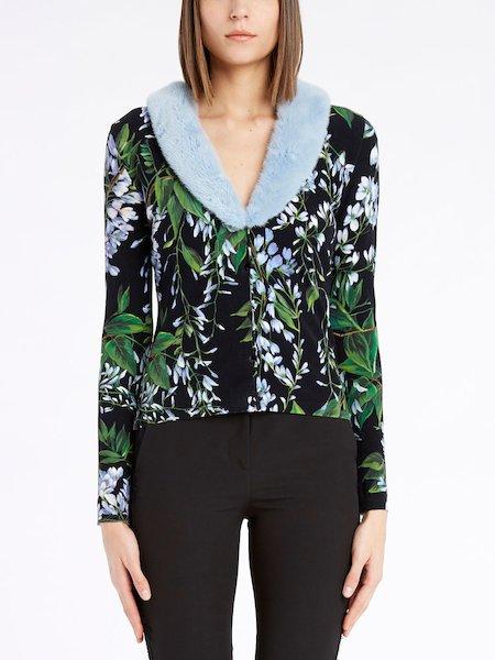 BluVi floral-print cardigan boasting a mink collar