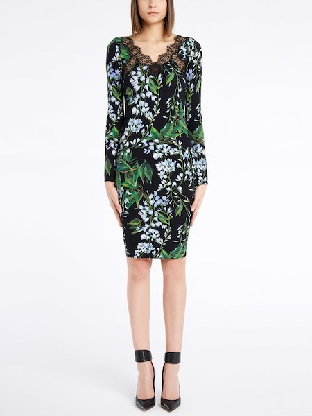 Long-sleeved dress in a floral-print knit with lace - Black