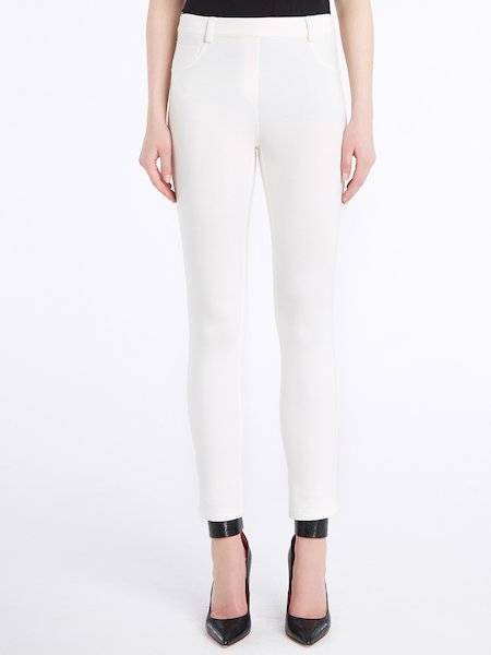 Skinny trousers in jersey - white