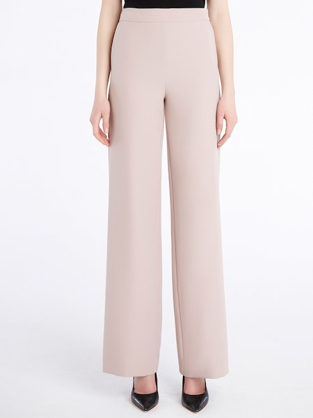 Flared trousers with logo and pockets in back - розовый