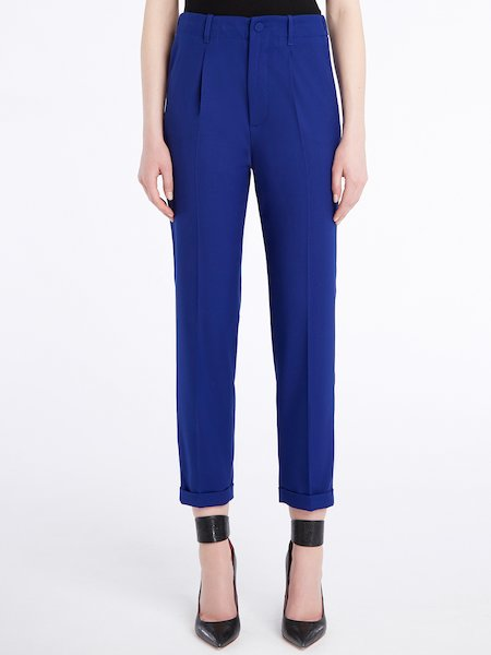 Cigarette-leg trousers with darts and cuffs - Azul