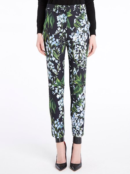 Cigarette trousers with wisteria print - Schwarz
