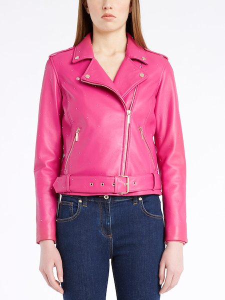 Leather biker jacket with micro-studs - fuchsia