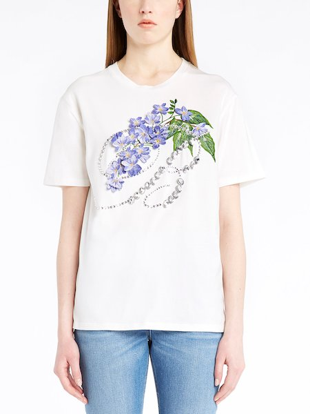 T-shirt with floral embroidery and rhinestones - Blanco
