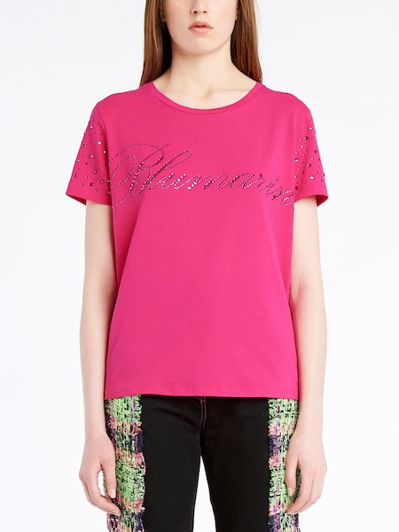 T-shirt with rhinestone logo - фуксия