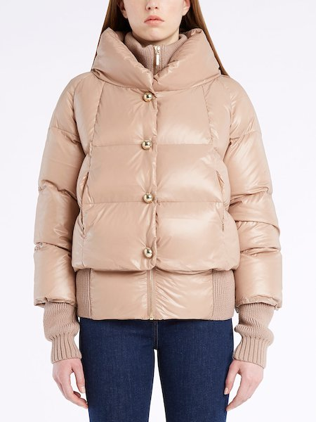 Down-filled jacket with knit detailing