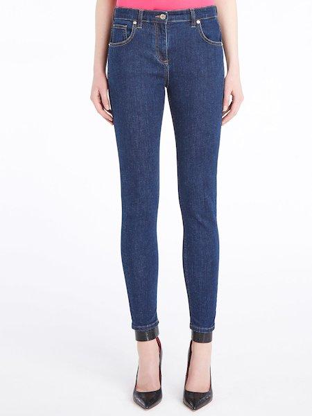 Skinny jeans with rhinestone logo - blau
