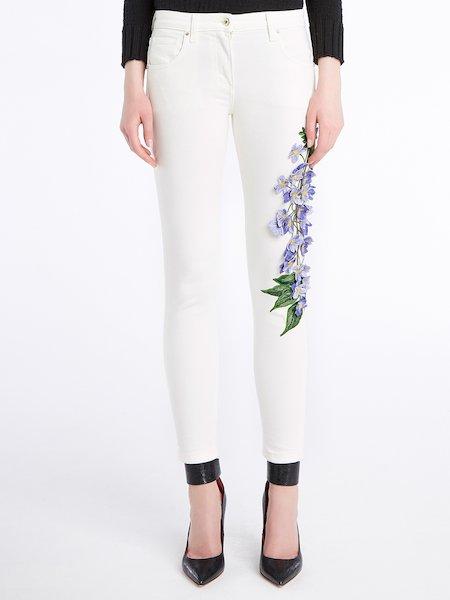 Jeans Skinny Con Ricamo Fiori 3d