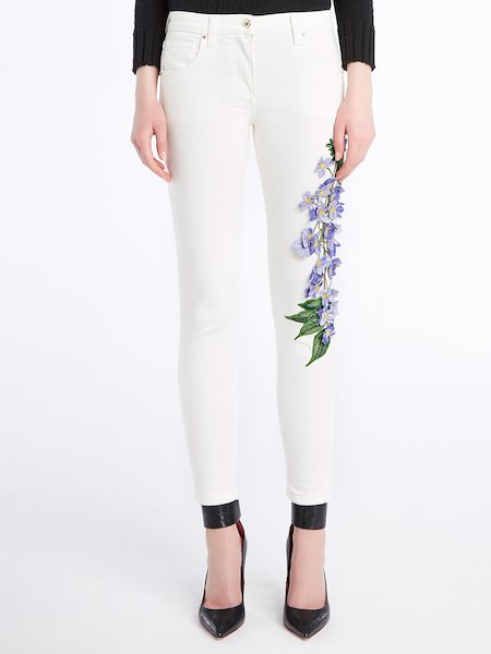 Skinny jeans with 3D floral embroidery - white