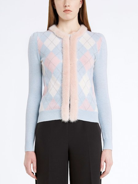 Cardigan with lozenge pattern featuring mink trim - blue