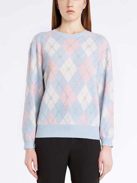 Argyle sweater with rhinestones - blue