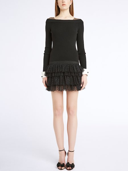 Knit dress with flounces - Black