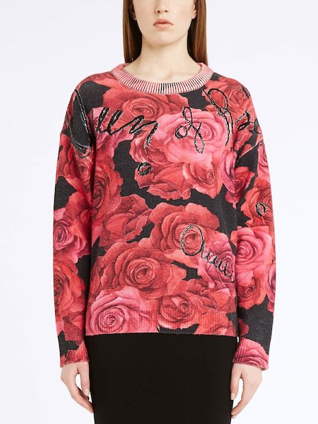 "Jersey estampado de rosas con bordado ""Queen of Roses"" - Negro"