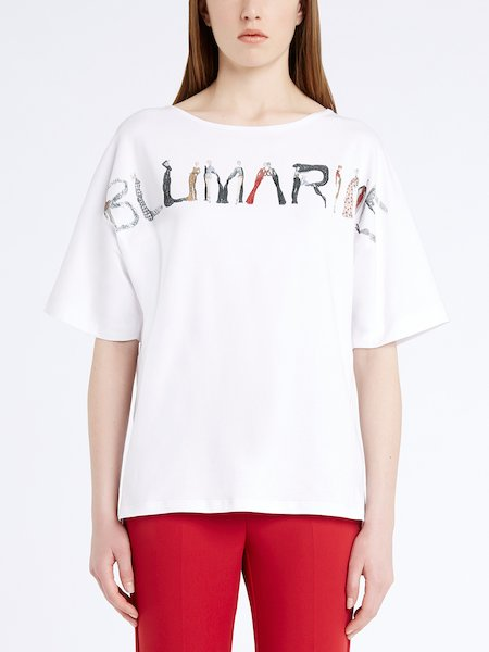 Camiseta con estampado-logo y bordado - Blanco