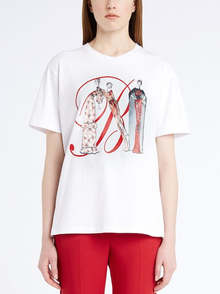 T-shirt with print and monogram - white