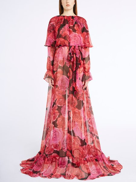 Long dress in rose-print silk chiffon