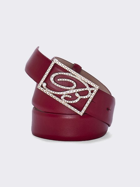 Leather belt with logo-buckle - red