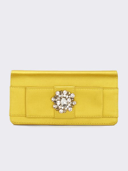 Clutch in satin with mounted gems and stones - yellow