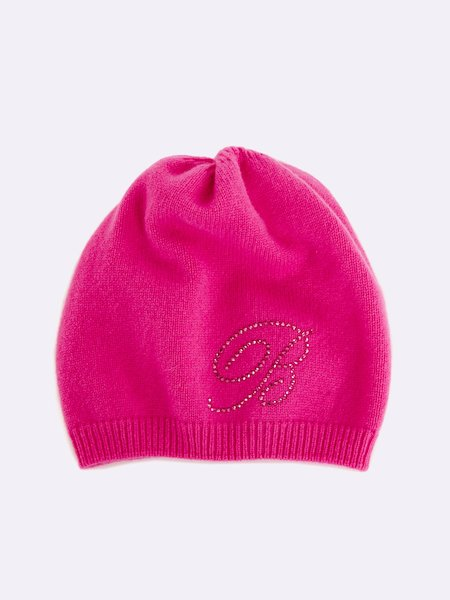 Knit beret with rhinestone logo - Fucsia