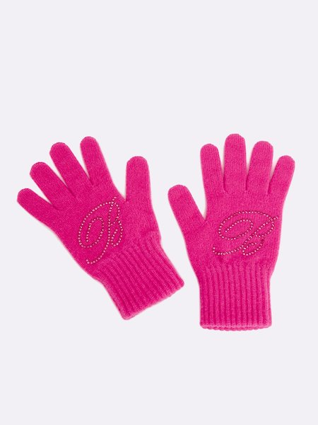 Knit gloves with rhinestone logo - Fucsia