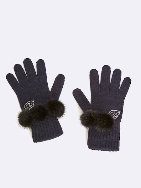 Knit gloves with pompoms and rhinestone logo - черный