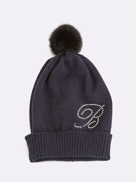 Knit beret with pompom and rhinestone logo - blue