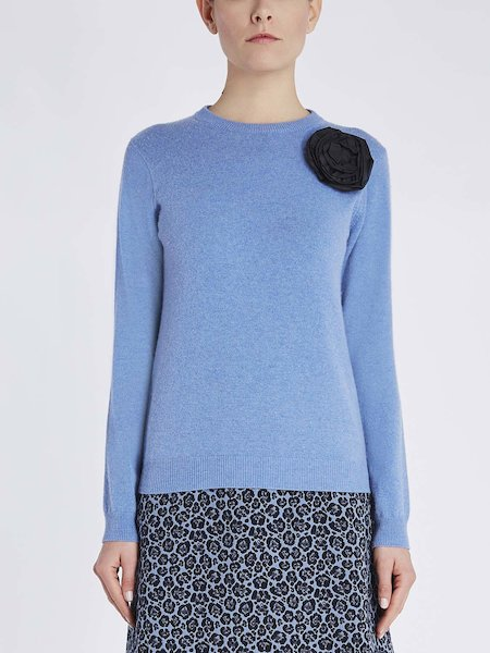 Round neck sweater with floral application - blue