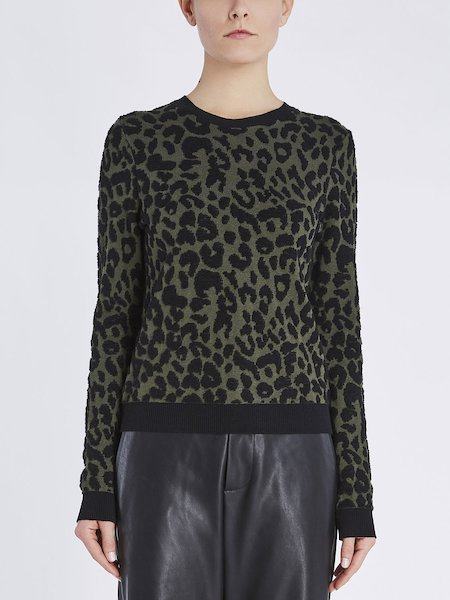 Round neck jacquard sweater with animalier motif