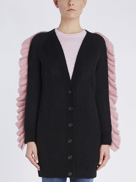 Cardigan with contrasting ruffle - Black