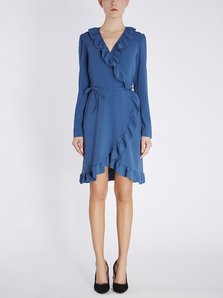 Wrap around dress with ruffle - blue