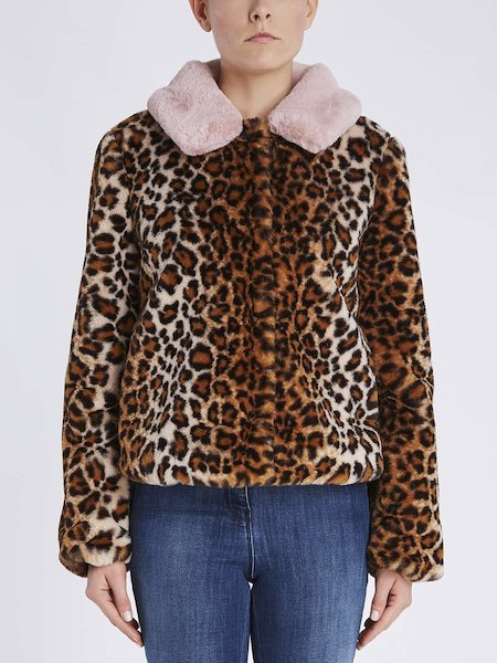 Bomber in animalier-print faux fur