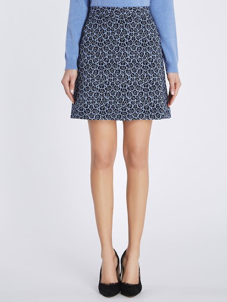 Jacquard skirt with animalier pattern - blue