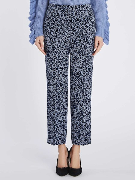 Jacquard trousers with animalier pattern - blue