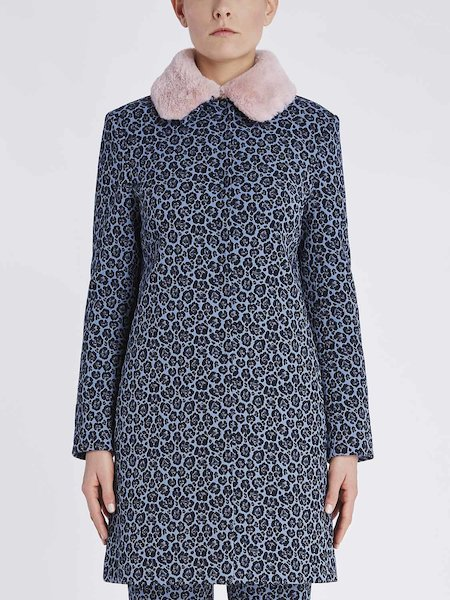 Jacquard overcoat with animalier pattern - blue
