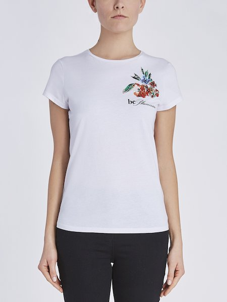 T-shirt in cotton with floral and logo embroidery - white