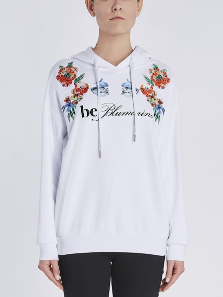 Sweatshirt in cotton with floral embroidery and embroidered logo - white