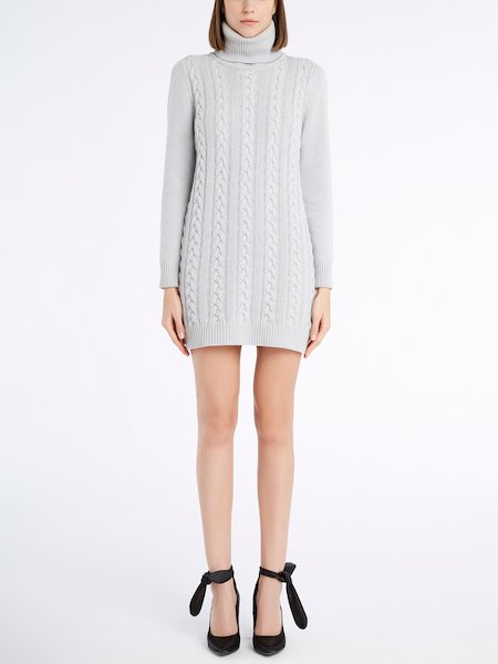 Knit dress with cable stitch work